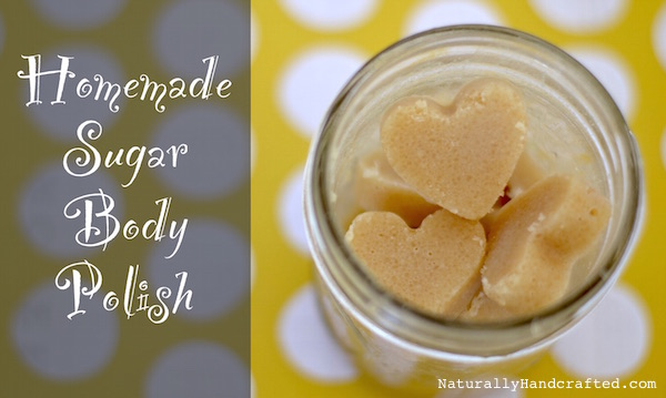 homemade DIY sugar scrub heart shape