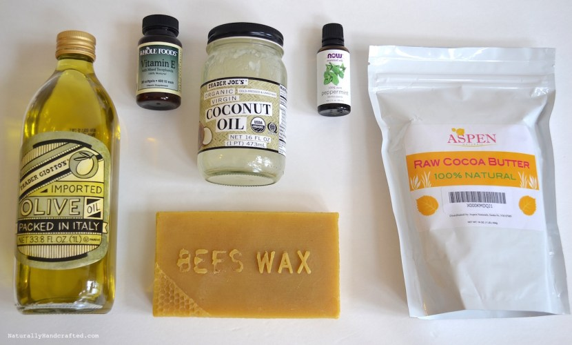 ingredients for homemade lip balm recipe