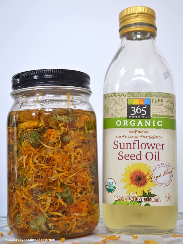 homemade calendula oil and sunflower oil