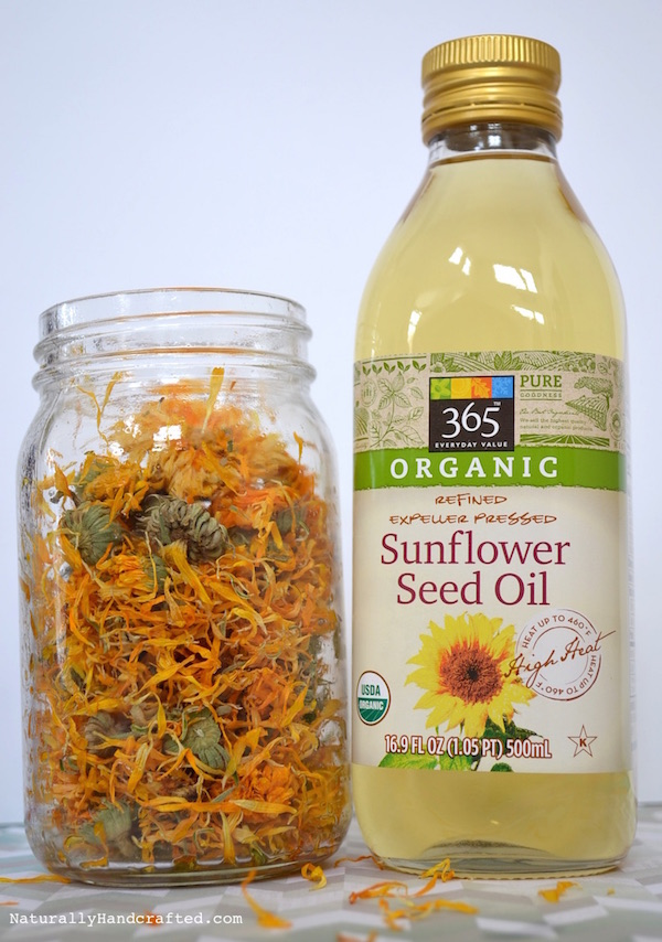 ingredients and container for homemade calendula oil