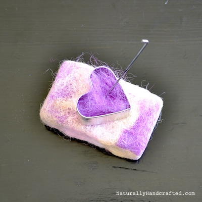 use a cookie cutter when felting diy felted soap