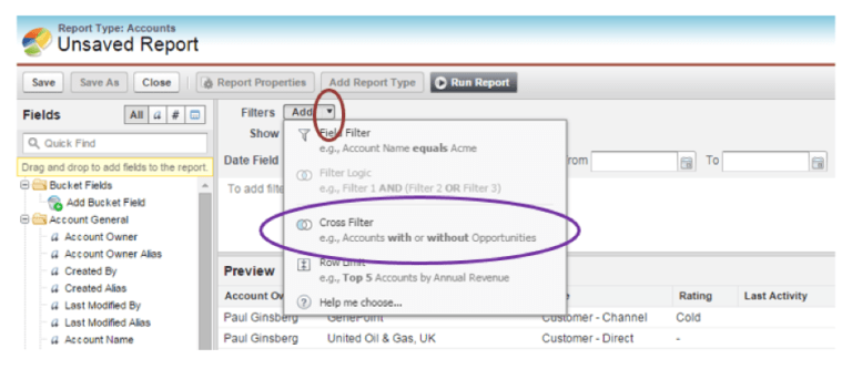 Screenshot of Cross Filters being selected in Salesforce