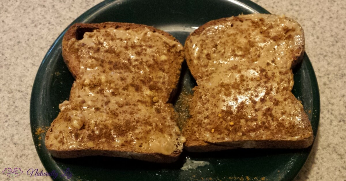 Gluten free toast with almond butter and Fall Spice Blend~Naturallyliz.com