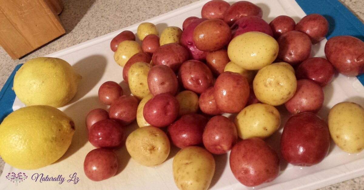 Potatoes and lemons resting with Produce Wash