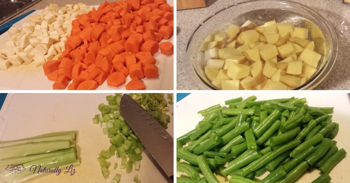 Prepped Vegies for Low FODMAP Chicken Vegetable Soup_Naturallyliz.com