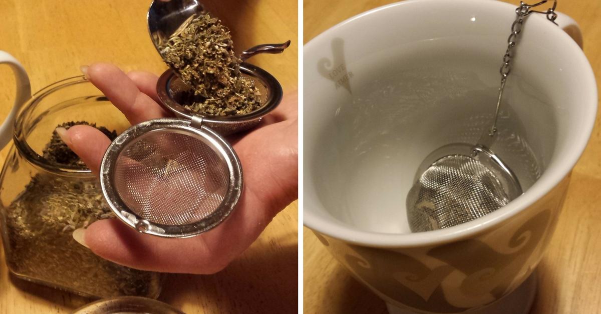 Lemon, Lavender, Mint Tea with metal tea ball