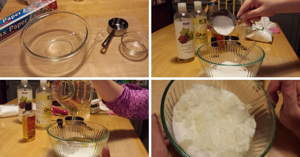 Making homemade Sea Salt Scrub with no coconut oil and no soy