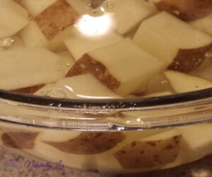 Soaking and Rinsing Potatoes reduces starch for Low FODMAP Beef Stew