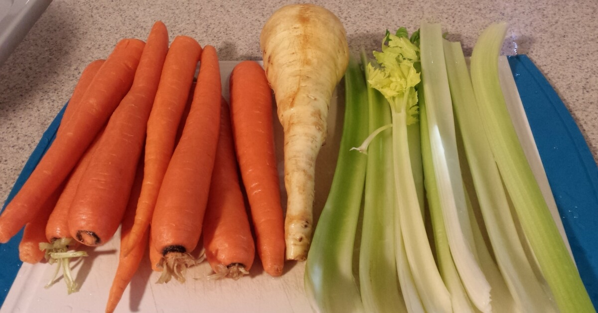 Vegies all washed and ready for cooking stewing hen and making stewing hen soup