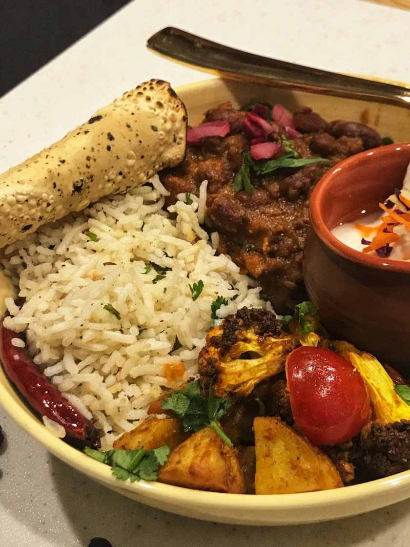 InstaPot Rajma Masala Bowl with Aloo Gobhi and Jeera Rice