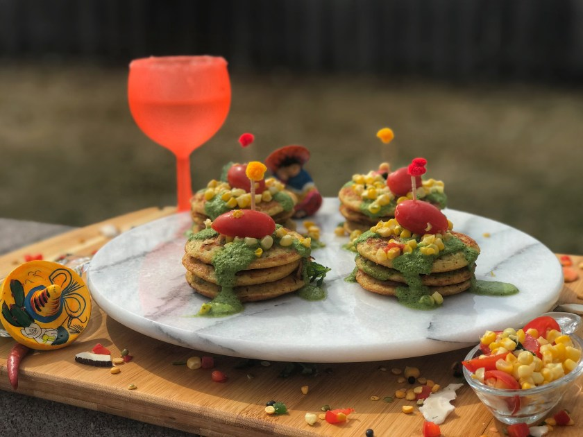 Savory Power Pancakes with Coconut-Mint Dip and Corn-Tomato Relish