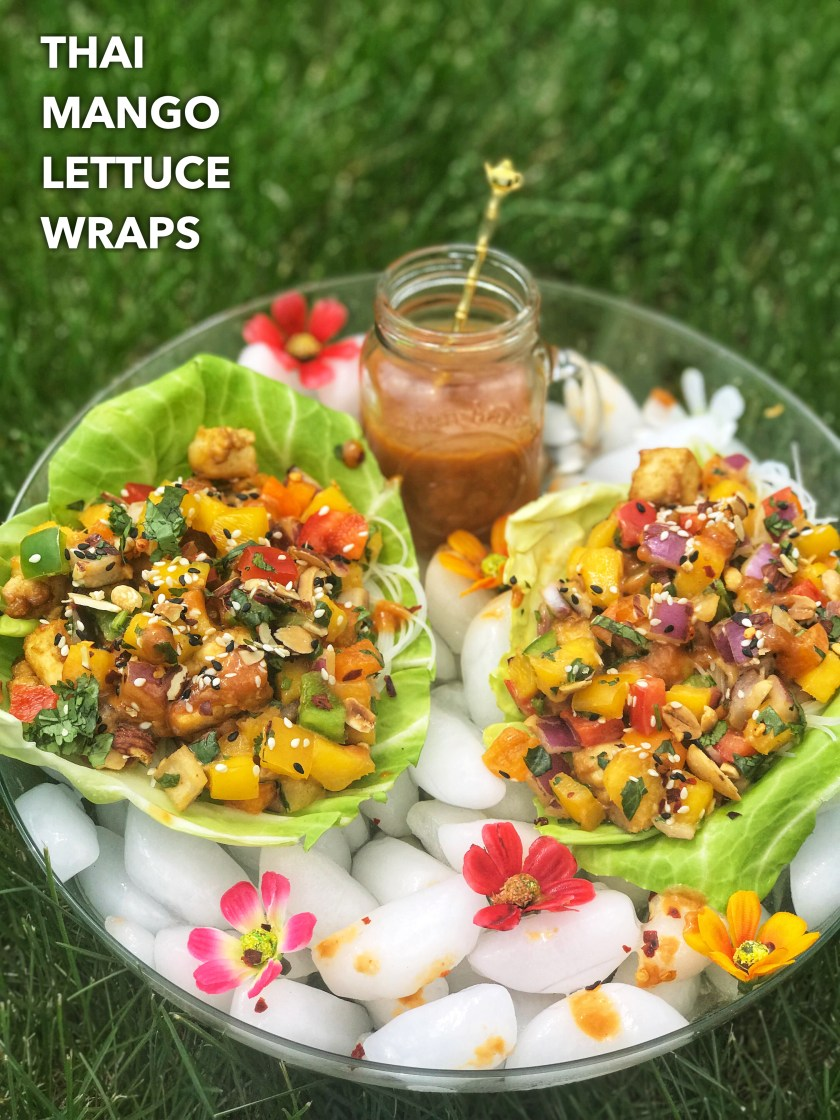 These Thai Mango Lettuce Wraps, served over ice, are deliciously light and refreshing, perfect for summer! The tofu-mango-chili filling with peanut dressing adds an awesome combination of sweet, sour, tangy and spicy flavors.