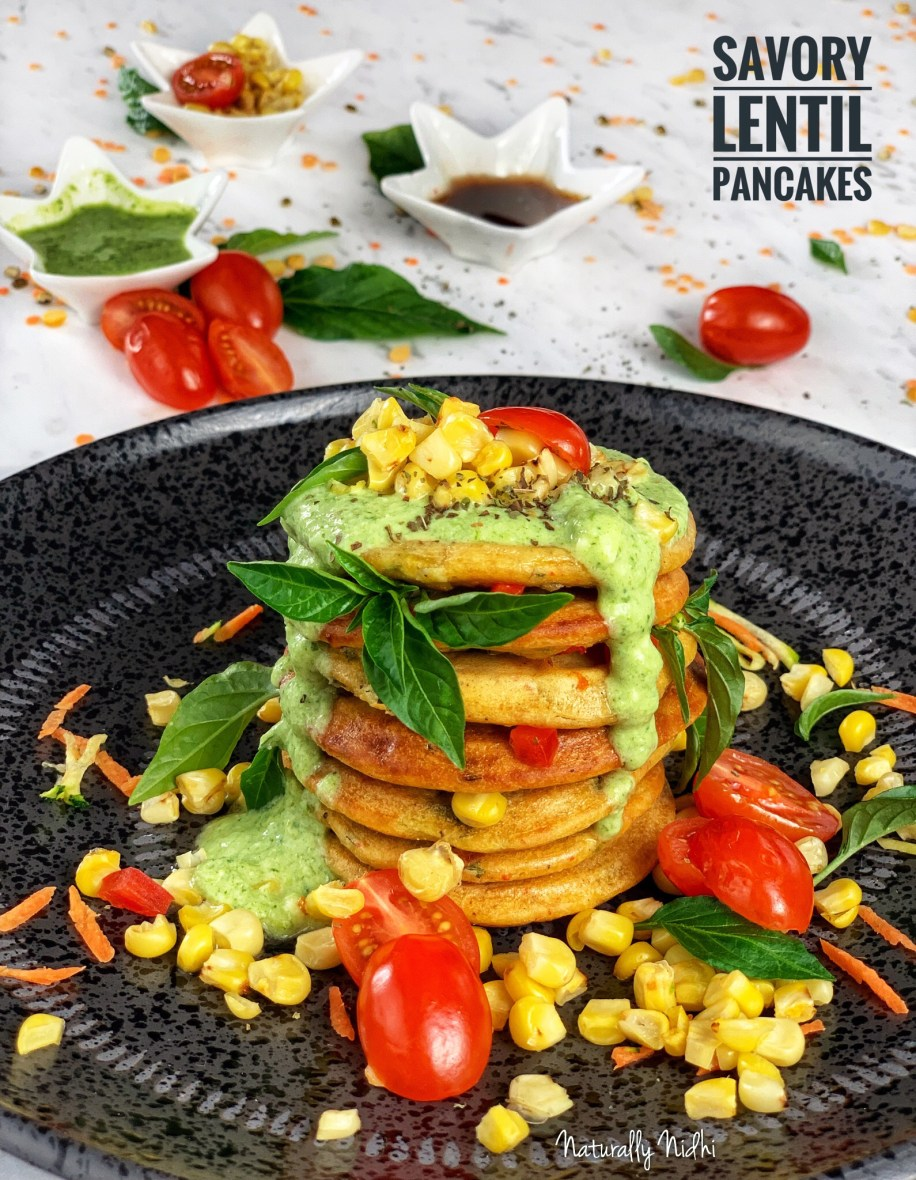 These deliciously healthy, protein-packed savory pancakes are full of ground lentils and fresh vegetables. It makes a great snack when you are low on energy or as a breakfast. Top it off with some coconut-mint dip and a fresh corn-tomato relish, and you have a perfect spring snack! Packed with amazing flavors and loads of protein, this nutritious breakfast is especially good for growing kids.
