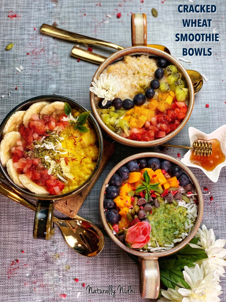 Instant Pot Cracked Wheat Smoothie Bowls - Packed full of antioxidants and vitamins, these cracked wheat smoothie bowls feature a super food twist! They look and taste just like smoothie bowls and even have the same fresh fruit and toppings, but they are extra healthy because of the yummy cracked wheat! Try it in three flavors - Saffron-Turmeric, Vanilla and Matcha for a healthy, super delicious breakfast or as an easy snack!