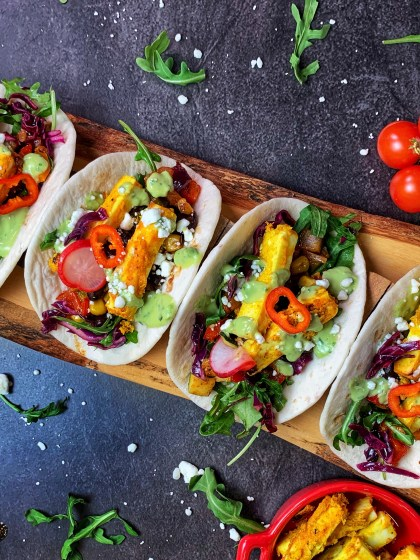 Craving to eat something delicious, something unique? Try these Tandoori Tacos with Avocado Crema. With tandoori paneer-tofu and grilled veggies enveloped in a warm tortilla with fresh salsa and zesty avocado sauce, these tacos are a mind-blowing fusion of Indian and Mexican flavors.