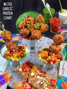 This Methi Garlic Pakoda Chaat paired with lemon and herb yogurt features unique flavors from green garlic. Serve this lentil fritters chaat with cilantro and chili-garlic chutney for a perfect party appetizer.