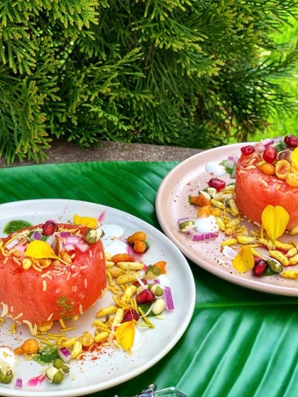 Crunchy Watermelon Kulle Chaat Cups - bite sized watermelon cups suited up with a delectable mix of mung bean sprouts, pomegranate, crunchy bhel mix, and yogurt! Try this fun summery twist on this Indian streetfood chaat from the streets of Delhi, that your kids are sure to love!