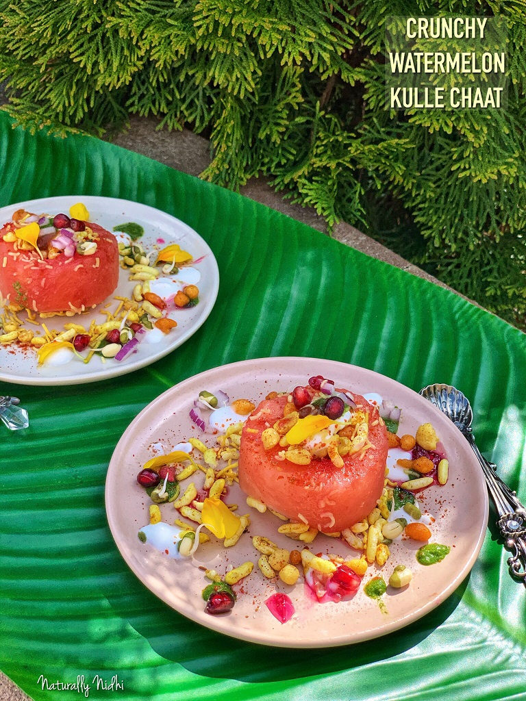 Crunchy Watermelon Kulle Chaat Cups - bite sized watermelon cups suited up with a delectable mix of mung bean sprouts, pomegranate, crunchy bhel mix, and yogurt! Try this fun summery twist on this Indian chaat from the streets of Delhi, that your kids are sure to love!