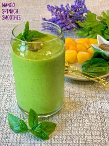 Spice up your breakfast with this Mango Spinach Banana smoothie that's a refreshing drink with all the nutrients you need for a healthy start!
