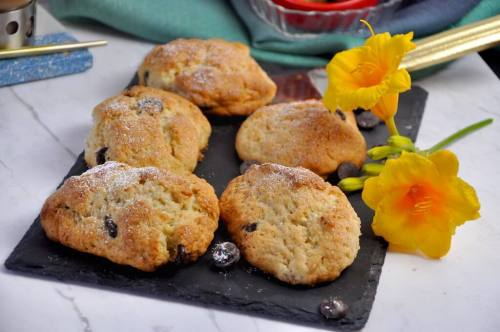 With flaky, buttery layers and pockets of dark chocolate chips, these English Breakfast Scones are a decadent treat to start off your day. Pair them with a cup of earl grey tea and savor the melt-in-your-mouth texture of these scones!