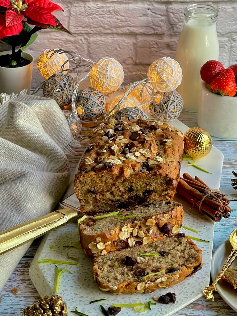 Eggless Zucchini Chocolate Chip Bread - fudgy, decadent, and fluffy, this dessert is a Christmas treat with a veggie twist! Enjoy this nutritious bread for your sweet tooth cravings and indulge in the deliciousness — all without the guilt!