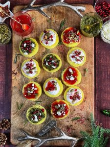 Moong Dal Dhokla Bites with Strawberry Chili Compote, Chimichurri Sauce and Herbed Yogurt - Jazz up this humble Indian classic with some homemade sauces and toppings for a festive Christmas appetizer!