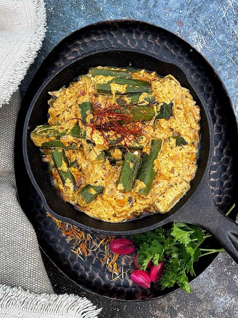 Dahi-Mustard-Bhindi-Okra-In-Yogurt-Mustard-Gravy
