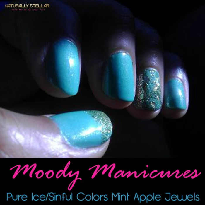 Moody Manicures-Pure Ice/Sinful Colors Mint Apple Jewels | Naturally Stellar