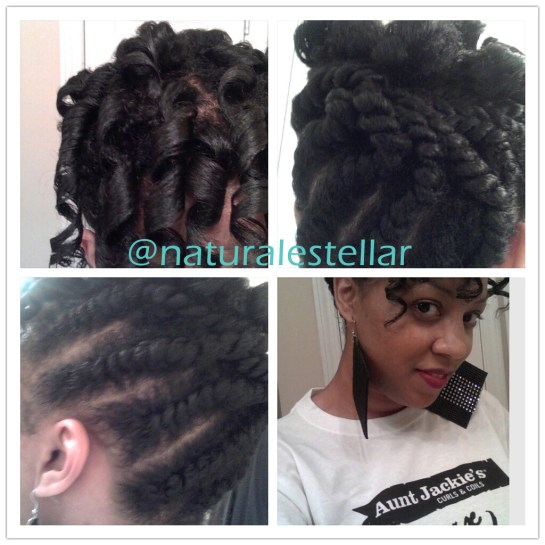 "My Results Using Aunt Jackie's Curl La La. Flat Twists. 2 Strand Twists. Spiral Curls using ""Curlformers"". 2/13."