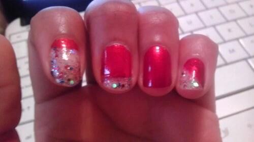 Valentines Mani Sugared Confetti. Sinful Colors and L.A. Colors