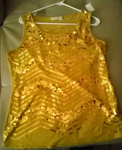 Gold, Top, Sequin, Summer, Goodwill, Fashion, Fashionista, Thrift, Thrifty Thursday, naturally stellar, goodwill gorgeous