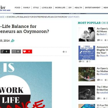 Naturally Stellar Featured On BlogHer.com - Is Work Life Balance An Oxymoron?