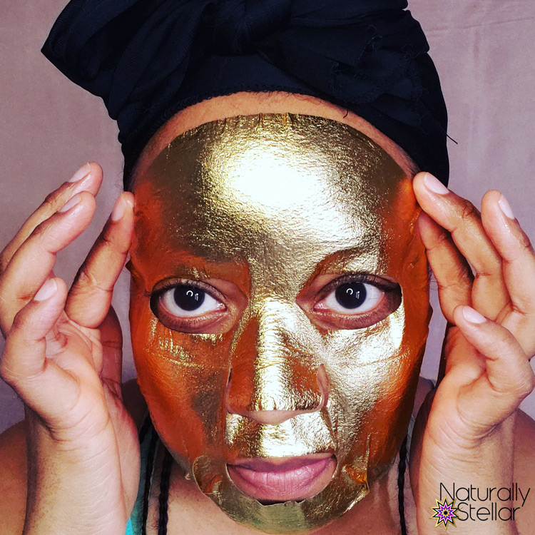Facetory Be Bright Be You gold foil mask application | Naturally Stellar