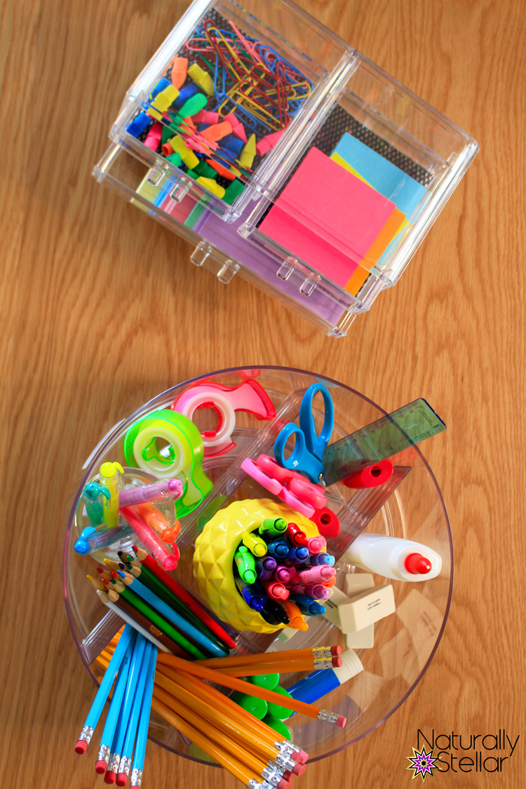 School supply centerpieces make school organization fun and functional for virtual learning | Naturally Stellar