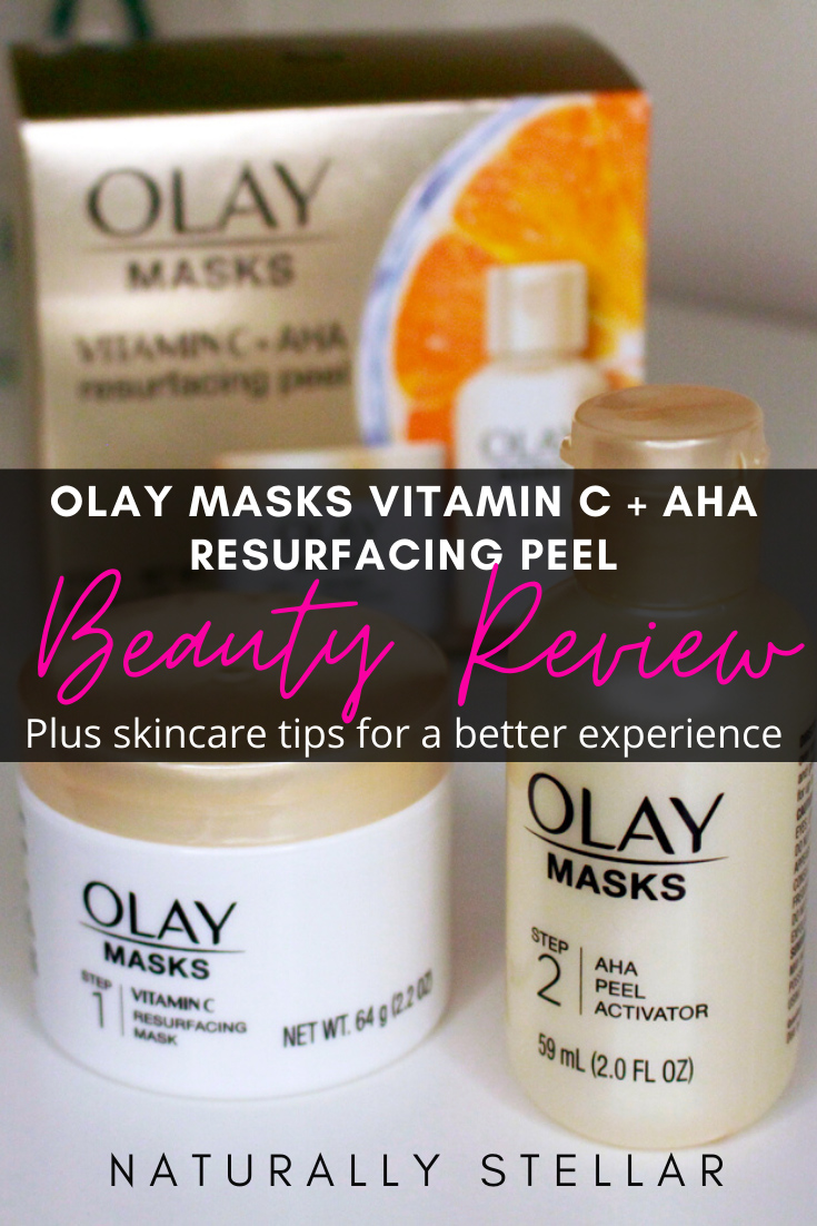 Olay Masks Vitamin C + AHA Resurfacing Peel Review https://naturallystellar.com