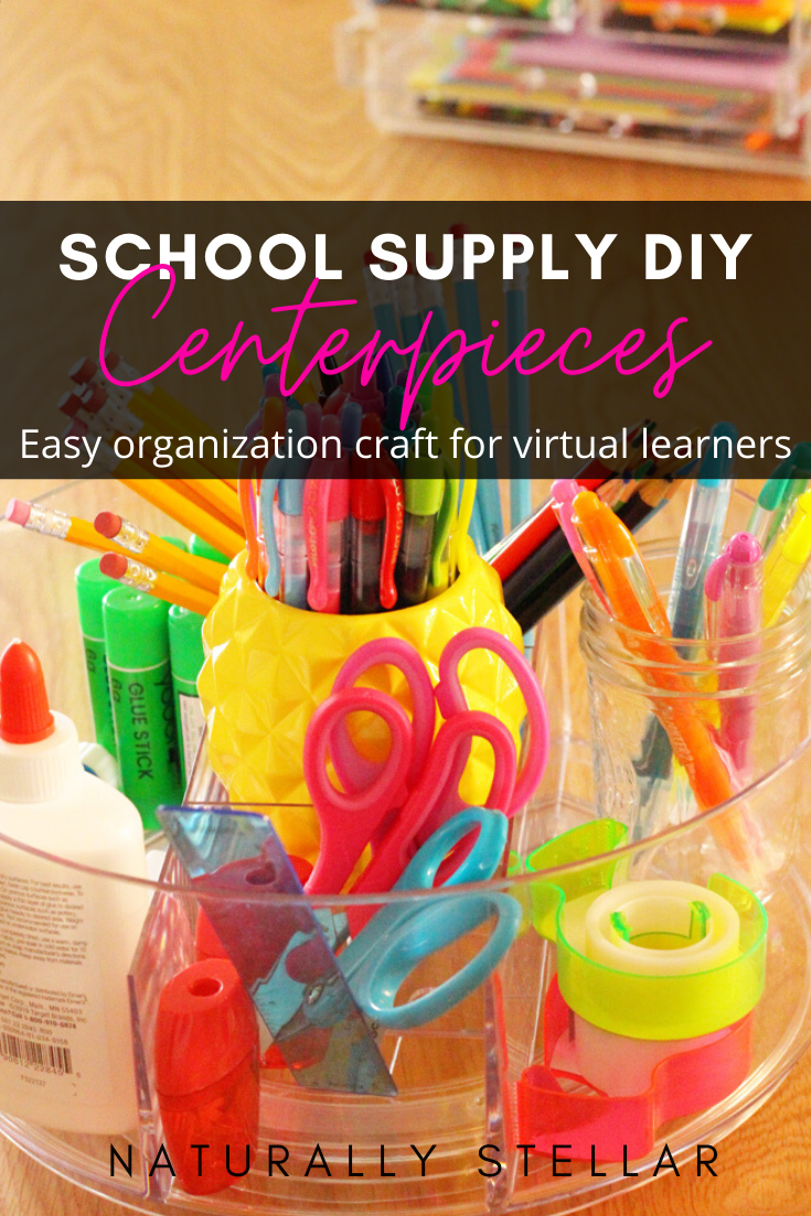 Beauty organizer school supply centerpiece | Naturally Stellar