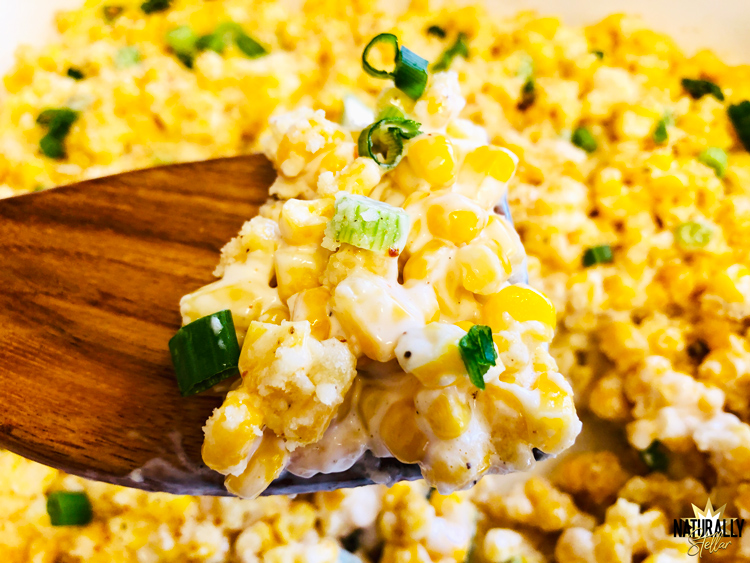 This delicious street corn bake is easy to make and can accompany just about any meal | Naturally Stellar
