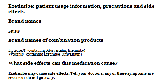 Ezetimibe: patient usage information precautions and side ...