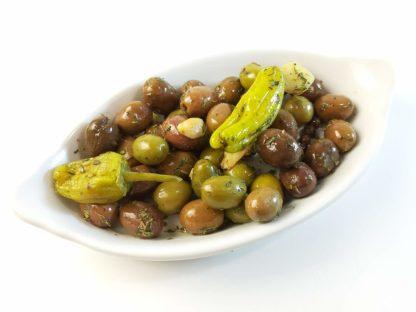 """Мікс оливок та перчиків у маринаді """"Наполі"""". В оливковій олії, лимонному соці, розсолі та італійські спеції с/к 3кг с.в."""