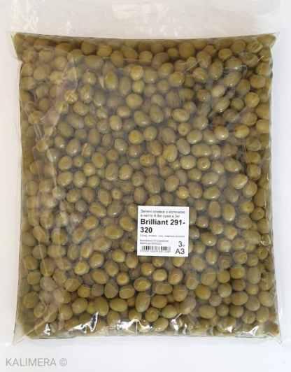 Зелені оливки з кісточкою в морській солі ПЕТ-пакетик 3кг калибр Brilliant 291-320 70335