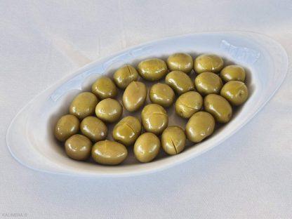 Надрізані Зелені оливки з кісточкою в морській солі ПЕТ-пакетик 1,8кг с.в. Jumbo 181-200 вак.у. 70513