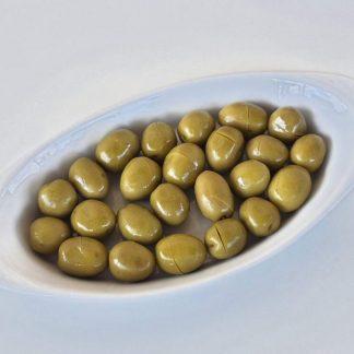 Надрізані Зелені оливки з кісточкою в морській солі ПЕТ-пакетик 560г с.в. Jumbo 181-200 вак.у. 70511