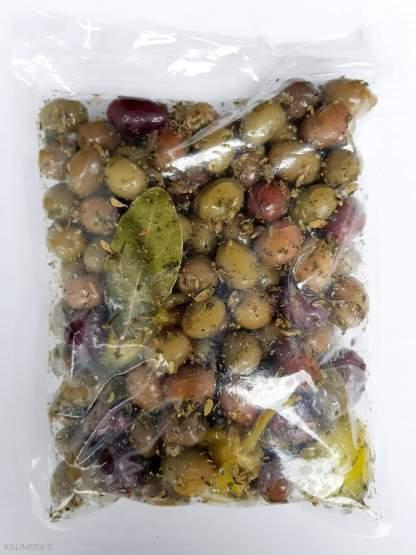 """Мікс оливок, маслин та перчиків у маринаді """"Корінф"""". В оливковій олії, винному оцті, розсолі та грецькі спеції с/к 1,8кг с.в. вак.у."""