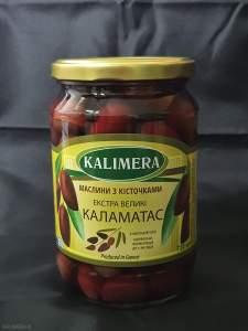 Маслини Каламатас з кісточкою Екстра Великі 201-230, 720 мл 420г.св