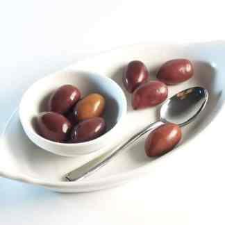 Органические Колоссальные Каламатас Маслини з кісточкою Вакуумний п у картонній коробці 250г вес оливок