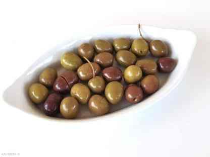 Надрізані Селянські оливки з кісточкою в морській солі ПЕТ-пакетик 3кг с.в. Jumbo 181-201