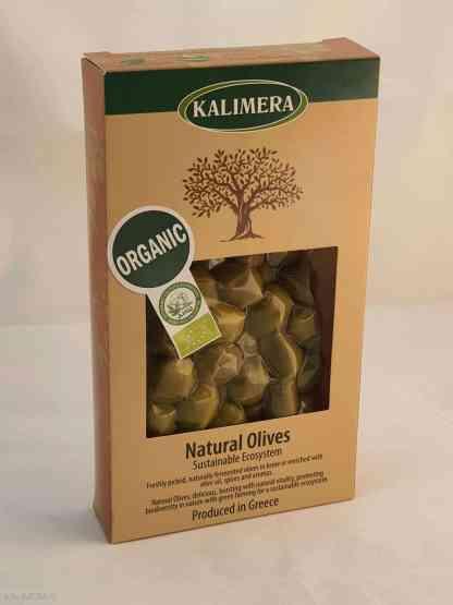 Органические Крупные Надрізані Зелені оливки з кісточкою Вакуумний п у картонній коробці 200г вес оливок