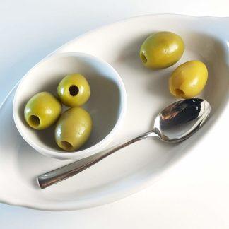 Халкидикис Зелені оливки без кісточки в морській солі 450г калибр Jumbo 181-200