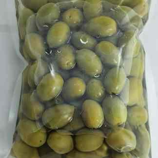 Халкидикис Зелені оливки з кісточкою в морській солі ПЕТ-пакетик 560г калибр 181 -200 Jumbo