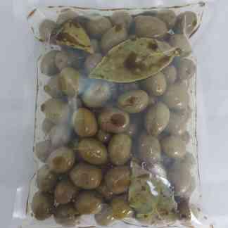 Зелені оливки Амфисис PDO у бальзамічному оцті, оливковій олії та лавровому листі, з кісточкою, Пет-пакетик 560г калибр Jumbo 181-200